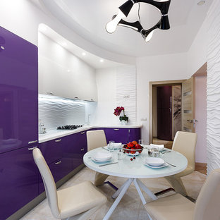 This is an example of a mid-sized contemporary l-shaped open plan kitchen in Other with an undermount sink, purple cabinets, quartz benchtops, white splashback, ceramic splashback, white appliances, porcelain floors, beige floor and white benchtop.