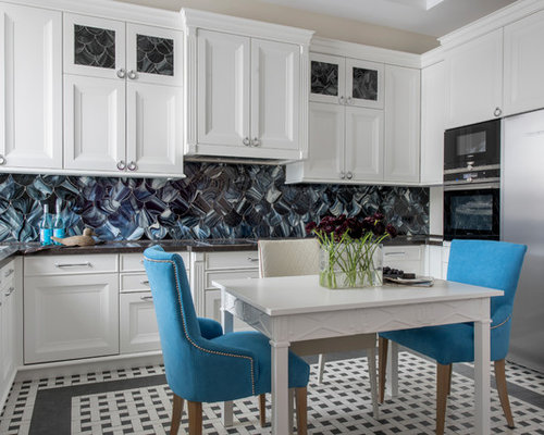 kitchens with white cabinets and tile floors. transitional open concept kitchen remodeling example of a ushaped multicolored floor kitchens with white cabinets and tile floors e