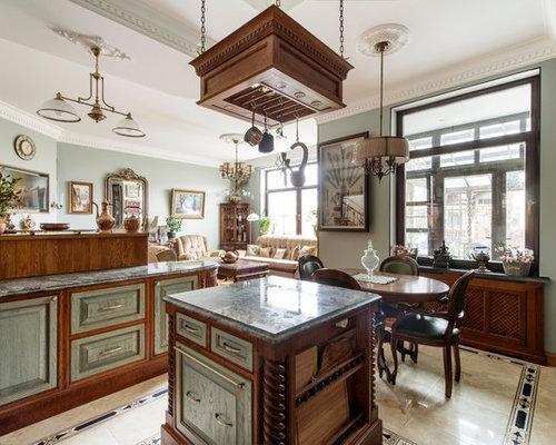 cuisine ouverte victorienne avec un sol en carrelage de c ramique photos et id es d co de. Black Bedroom Furniture Sets. Home Design Ideas