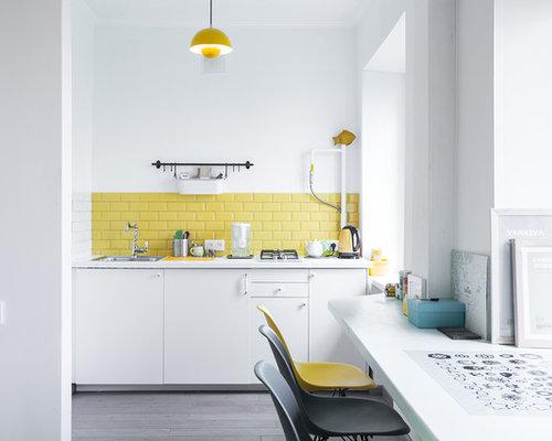 Scandinavian Kitchen with Yellow Backsplash Design Ideas & Remodel ...