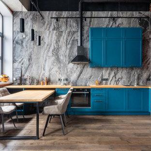 Идея дизайна: маленькая кухня в стиле лофт