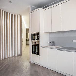 Пример оригинального дизайна: прямая кухня-гостиная в современном стиле с плоскими фасадами, белыми фасадами, серым фартуком, техникой из нержавеющей стали, паркетным полом среднего тона, двойной раковиной и коричневым полом без острова