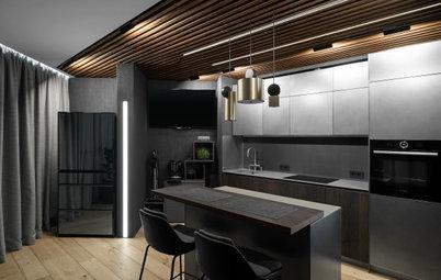 Проект недели: Кухня-гостиная в тёмных тонах — на 17 этаже