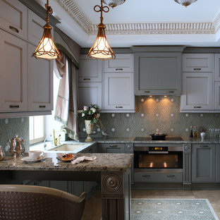 Inspiration for a mid-sized traditional u-shaped separate kitchen in Moscow with marble benchtops, stainless steel appliances, marble floors, beige floor, grey cabinets, green splashback, ceramic splashback, with island, an undermount sink and recessed-panel cabinets.