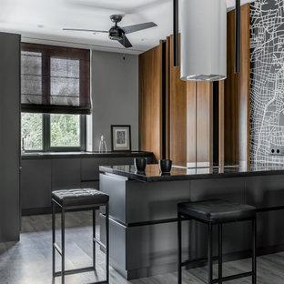 На фото: параллельные кухни-гостиные в современном стиле с плоскими фасадами, серыми фасадами, полуостровом, серым полом и черной столешницей