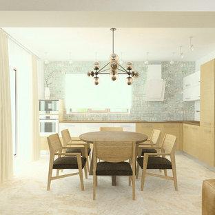 他の地域の中サイズの北欧スタイルのおしゃれなキッチン (シングルシンク、フラットパネル扉のキャビネット、ラミネートカウンター、マルチカラーのキッチンパネル、セラミックタイルのキッチンパネル、白い調理設備、中間色木目調キャビネット、セラミックタイルの床、アイランドなし、ターコイズの床、茶色いキッチンカウンター) の写真