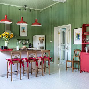 Farmhouse eat-in kitchen remodeling - Eat-in kitchen - farmhouse single-wall painted wood floor eat-in kitchen idea in Moscow with an island, recessed-panel cabinets, white cabinets and green backsplash