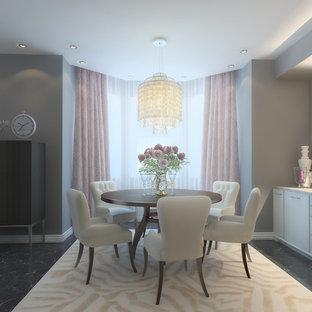 他の地域の大きいエクレクティックスタイルのおしゃれなL型キッチン (フラットパネル扉のキャビネット、白いキャビネット、人工大理石カウンター、セラミックタイルの床、黒い床、白いキッチンカウンター) の写真