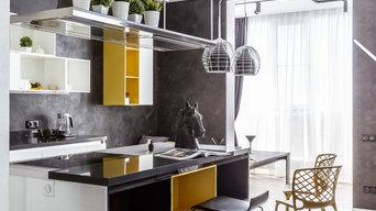 """Фото кухни реализованного проекта квартиры ЖК """"Адмирал""""."""