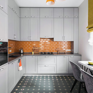 Contemporary Enclosed Kitchen Photos Trendy L Shaped Gray Floor Photo With Recessed