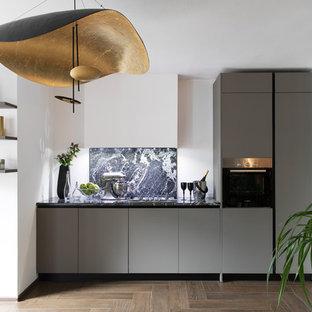 На фото: линейная кухня в современном стиле с плоскими фасадами, серыми фасадами и техникой из нержавеющей стали с