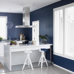 Идея дизайна: параллельная кухня в скандинавском стиле с плоскими фасадами, белыми фасадами, монолитной раковиной, столешницей из нержавеющей стали, полуостровом и серым полом