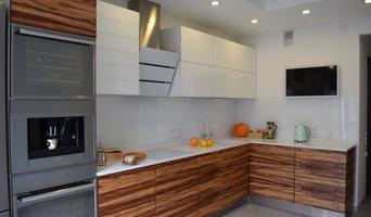 Кухня без ручек с электроприводами фасадов