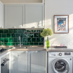 Photo of a small midcentury l-shaped eat-in kitchen in Moscow with a single-bowl sink, recessed-panel cabinets, grey cabinets, quartz benchtops, green splashback, ceramic splashback, no island and beige benchtop.