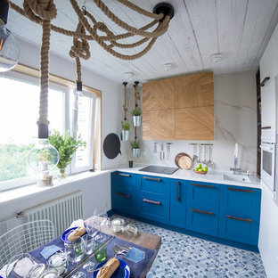 Inspiration for a mid-sized eclectic l-shaped separate kitchen in Moscow with an undermount sink, solid surface benchtops, white splashback, ceramic floors, no island, shaker cabinets, white appliances, stone slab splashback and multi-coloured floor.
