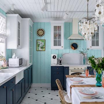 Кухня-столовая в мятных тонах