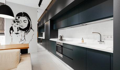 Houzz Украина: Универсальная квартира с черно-белыми портретами