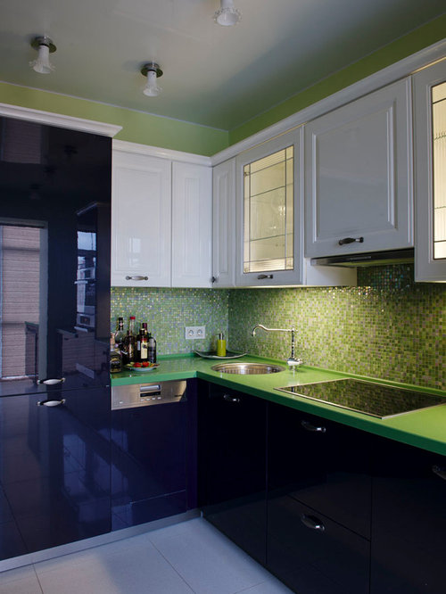 Kitchen design ideas renovations photos with green for Purple and green kitchen ideas