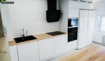 Кухня в скандинавском стиле в мансардной квартире