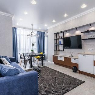 Идея дизайна: прямая кухня-гостиная в современном стиле с плоскими фасадами, серым фартуком, серым полом и серой столешницей без острова