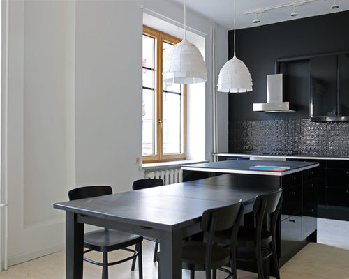 small open concept kitchen inspiration small trendy galley light wood floor open concept kitchen