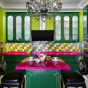 Inspiration for an eclectic u-shaped enclosed kitchen in Saint Petersburg with engineered stone countertops, ceramic splashback, an island, flat-panel cabinets, green cabinets, multi-coloured splashback and black appliances.