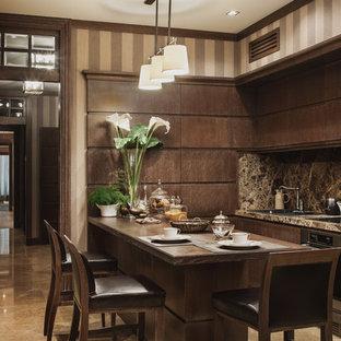 На фото: кухни в стиле современная классика с накладной раковиной, плоскими фасадами, темными деревянными фасадами, коричневым фартуком, техникой из нержавеющей стали, островом и коричневым полом