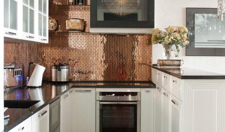 Bring Sophisticated Drama to Your Room With Warm Metallic Tiles