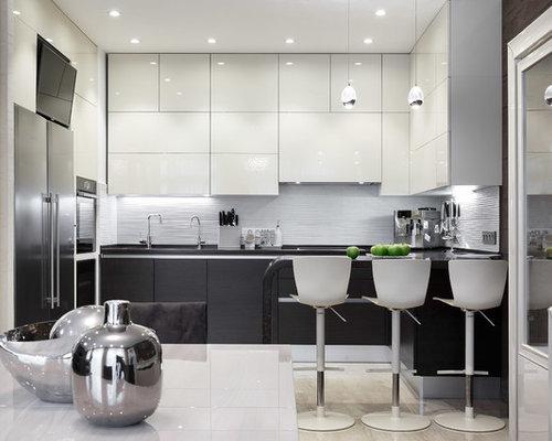 k chen mit k chenr ckwand aus porzellanfliesen und halbinsel ideen bilder houzz. Black Bedroom Furniture Sets. Home Design Ideas