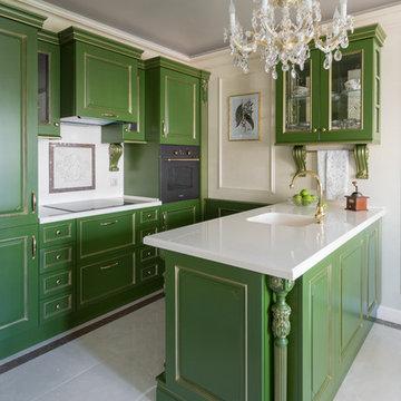 Квартира с зелёной кухней и романтичной ванной