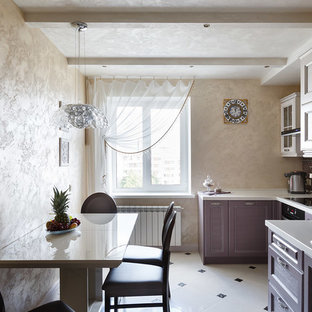 This is an example of a transitional separate kitchen in Saint Petersburg with a drop-in sink, recessed-panel cabinets, purple cabinets, mosaic tile splashback, black appliances, no island and white floor.