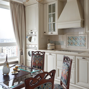 Design ideas for a traditional kitchen in Moscow with raised-panel cabinets, beige cabinets, beige splashback, white appliances, ceramic floors, no island and multi-coloured floor.