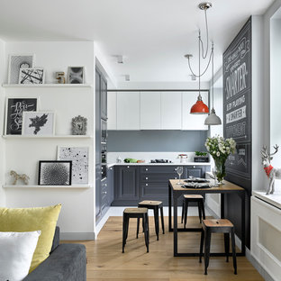 Small scandinavian kitchen in Moscow with raised-panel cabinets, grey cabinets, light hardwood floors and no island.