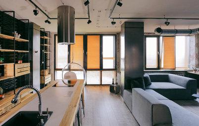 Houzz тур: Лофт, где кухня — с островом-верстаком и профнастилом