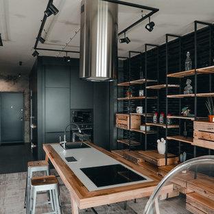 На фото: прямая кухня-гостиная в стиле лофт с накладной раковиной, открытыми фасадами и островом