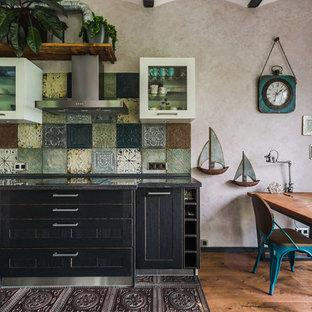 Design ideas for a large industrial l-shaped open plan kitchen in Moscow with an integrated sink, shaker cabinets, engineered stone countertops, multi-coloured splashback, metal splashback, dark hardwood flooring, no island, black worktops, black cabinets and brown floors.