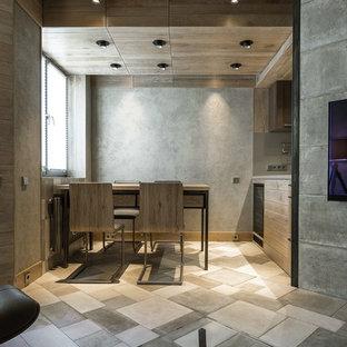 На фото: со средним бюджетом линейные кухни-гостиные среднего размера в современном стиле с полом из керамической плитки, серым полом, плоскими фасадами и фасадами цвета дерева среднего тона без острова