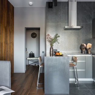 Inspiration for a small contemporary u-shaped open plan kitchen in Saint Petersburg with flat-panel cabinets, grey cabinets, solid surface benchtops, grey splashback, porcelain splashback, stainless steel appliances, porcelain floors, a peninsula, black floor and black benchtop.