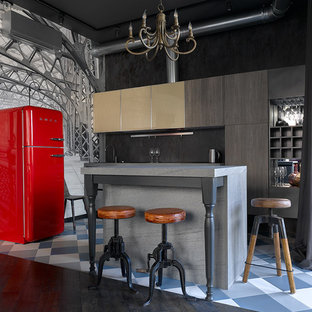 Eclectic open concept kitchen pictures - Eclectic single-wall open concept kitchen photo in Moscow with flat-panel cabinets, black backsplash, an island and colored appliances