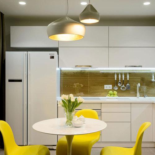 cuisine avec une cr dence marron et un vier 1 bac. Black Bedroom Furniture Sets. Home Design Ideas