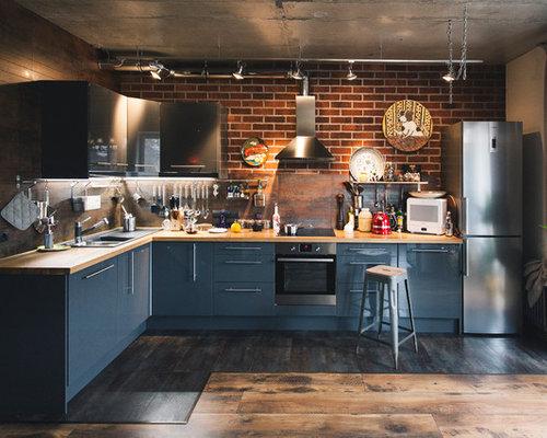 10k Industrial Kitchen Design Ideas Remodel Pictures Houzz
