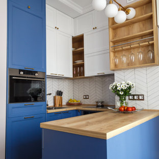 75 Beautiful Kitchen With Blue Cabinets And Wood Countertops Pictures Ideas December 2020 Houzz