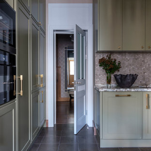Design ideas for a mid-sized transitional u-shaped separate kitchen in Moscow with an undermount sink, green cabinets, grey splashback, stone tile splashback, marble floors, no island, grey floor, green benchtop and marble benchtops.