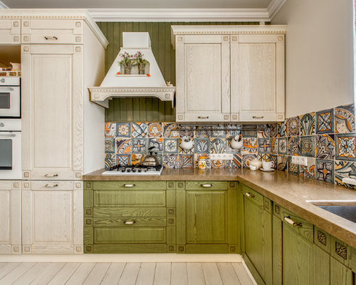 Farmhouse Kitchen Inspiration   Example Of A Country L Shaped Kitchen  Design In Other With
