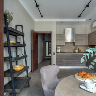 Photo of a large contemporary l-shaped eat-in kitchen in Moscow with a drop-in sink, flat-panel cabinets, brown cabinets, laminate benchtops, beige splashback, stainless steel appliances, porcelain floors, no island, grey floor and beige benchtop.