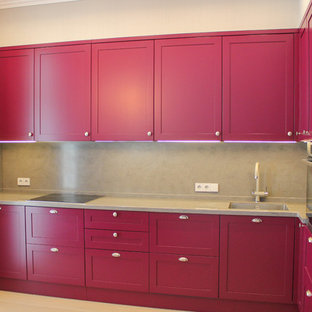 Inspiration for a mid-sized transitional l-shaped separate kitchen in Moscow with shaker cabinets, purple cabinets, solid surface benchtops, grey splashback, stone slab splashback, stainless steel appliances, light hardwood floors, no island and grey benchtop.