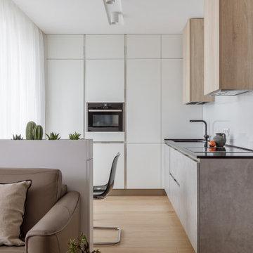 Точка белого(фотографии кухни-гостиной)