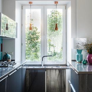 Scandinavian Kitchen Pictures Danish U Shaped Beige Floor Photo In Moscow With A