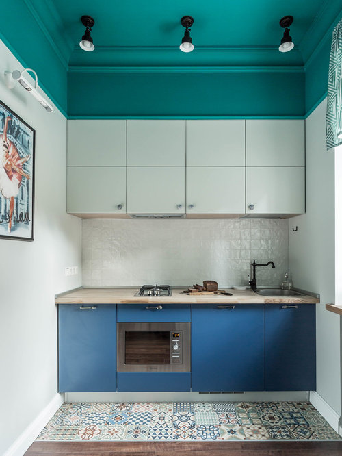 Exceptional Eclectic Enclosed Kitchen Photos   Eclectic Single Wall Enclosed Kitchen  Idea In Moscow With A
