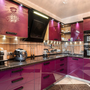 Photo of a mid-sized contemporary single-wall separate kitchen in Saint Petersburg with a drop-in sink, flat-panel cabinets, purple cabinets, solid surface benchtops, beige splashback, glass sheet splashback, black appliances, porcelain floors and multi-coloured floor.